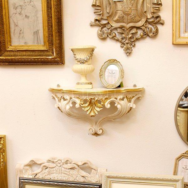 【即納可!】【イタリア製】ロココ調♪壁掛けコンソール アンティーク・ホワイト (W38×H20cm)