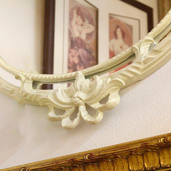 【即納可!】イタリア製 リボンオーバルミラー オフホワイト(W50×H50cm)