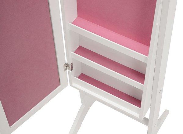 【セール!】ジュエリーBOXと姿見鏡の1台2役♪収納付きスタンドミラー・ピンク(H152.5cm)