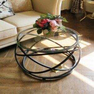 ラウンドコーヒーテーブル ガラストップ・ブラック/ゴールド(φ60×H45cm)