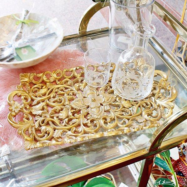 【即納可!】ゴールド アラベスクトレイ(W40cm)