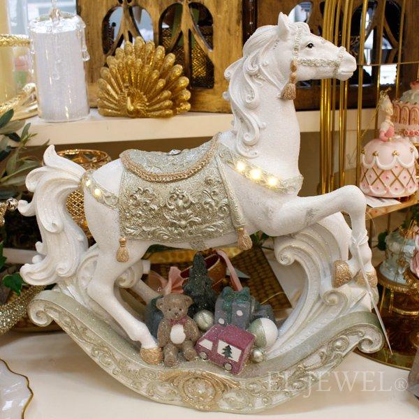 【即納可!】クリスマス♪LEDホワイトロッキングホースオブジェ(W38cm)