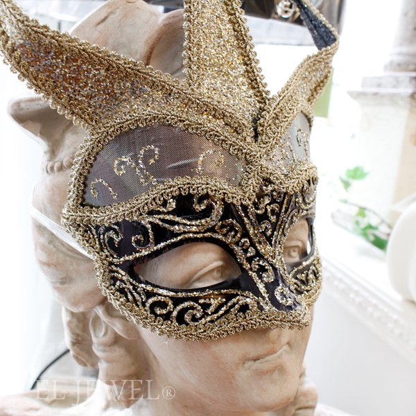 【即納可!】【GOODWILL】ベルギー・キラキラ☆レースの仮面舞踏会マスク(H24cm)