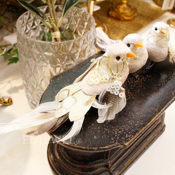 【即納可!】【GOODWILL】ベルギー・キラキラ☆バードクリップ・ホワイト(17cm)