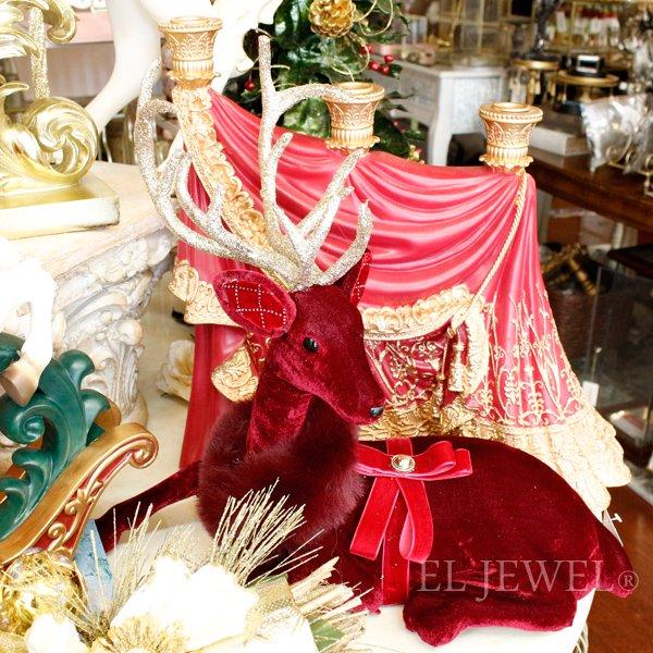 【完売】【GOODWILL】ベルギー・クリスマス☆レッドディアオブジェ(W42cm)