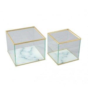 【即納可!】【フランス-Aulica-】ガラスBOXケース・マーブル調(S/L)