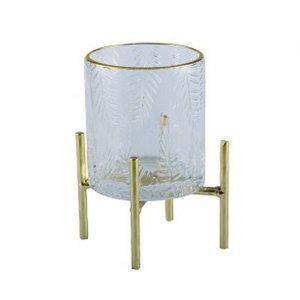 【即納可!】【フランス-Aulica-】ガラスキャンドルホルダー・ゴールド(Φ8×H12.8cm)