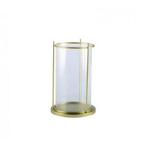【即納可!】【フランス-Aulica-】ガラスキャンドルホルダー・ゴールド(Φ12×H19.5cm)