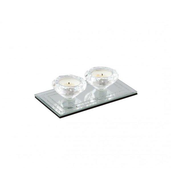 【入荷未定】【フランス-Aulica-】キラキラ♪ガラスキャンドルホルダー(W16.8×D9×H4cm)