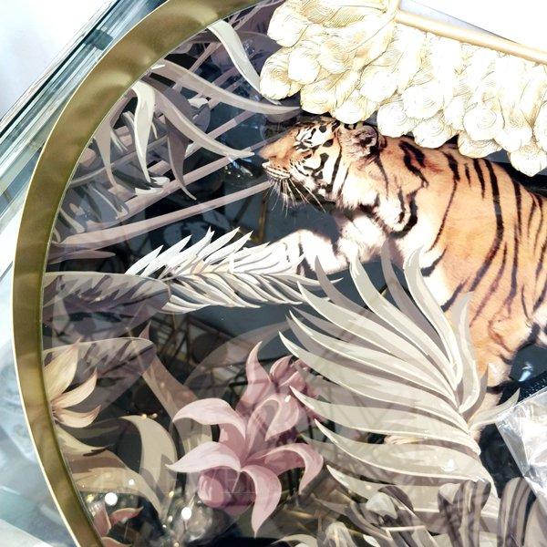 【即納可!】【フランス-Aulica-】アニマル柄オーバルトレー「タイガー」(Φ40×H3cm)