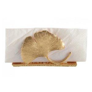 【即納可!】【フランス-Aulica-】ゴールデンリーフナプキンホルダー(W13.7×D4.1×H7.1cm)