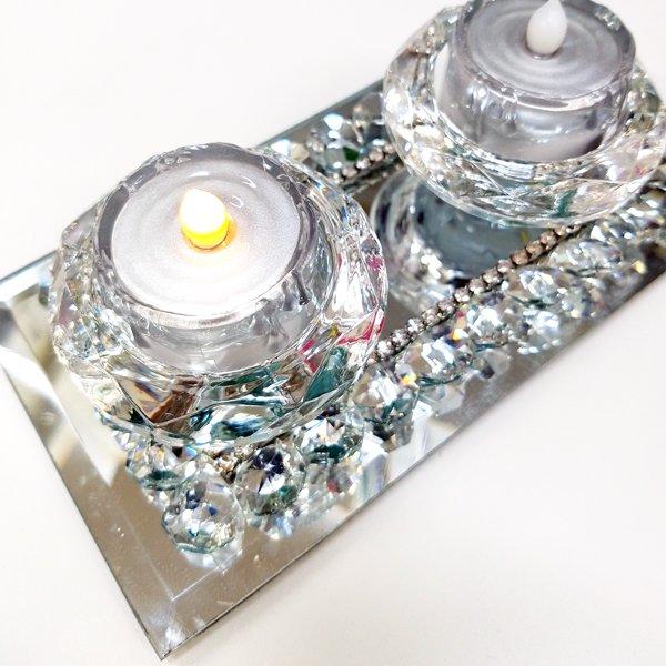 【即納可!】【フランス-Aulica-】キラキラ♪ガラスキャンドルホルダー(LEDライト2個付き)(W16.8×D9×H4cm)