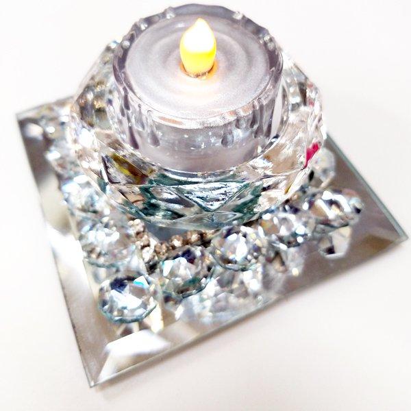 【即納可!】【フランス-Aulica-】キラキラ♪ガラスキャンドルホルダー(W9×D9×H4cm)