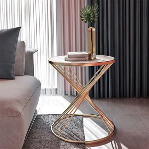 ラウンドコーヒーテーブル 大理石トップ・ブラック/ホワイト(φ45×H50cm)