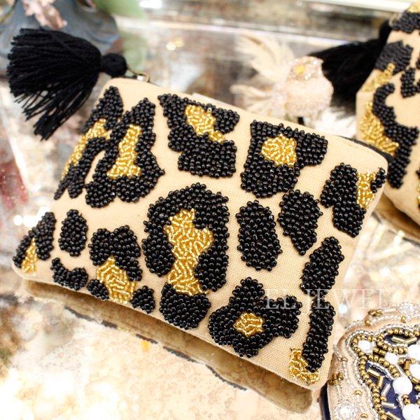 【即納可!】ビーズ刺繍フラットポーチ・レオパード(14×10cm)