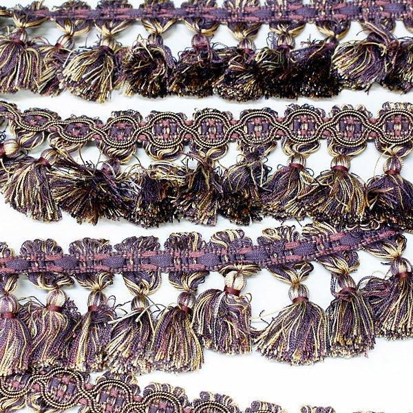 【超特価セール!】【即納可!】【英国T&T社】イギリス直輸入〜SOMERFORD COLLECTION〜カーテン フリンジ パープル系(15m)