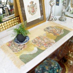 【完売】西陣織・テーブルセンター 鳥と花(約30×67cm)