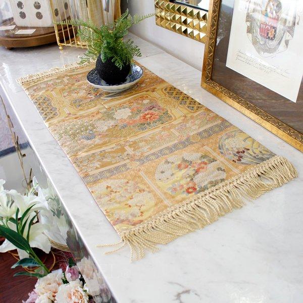 【完売】西陣織・テーブルセンター 花1(約30×67cm)