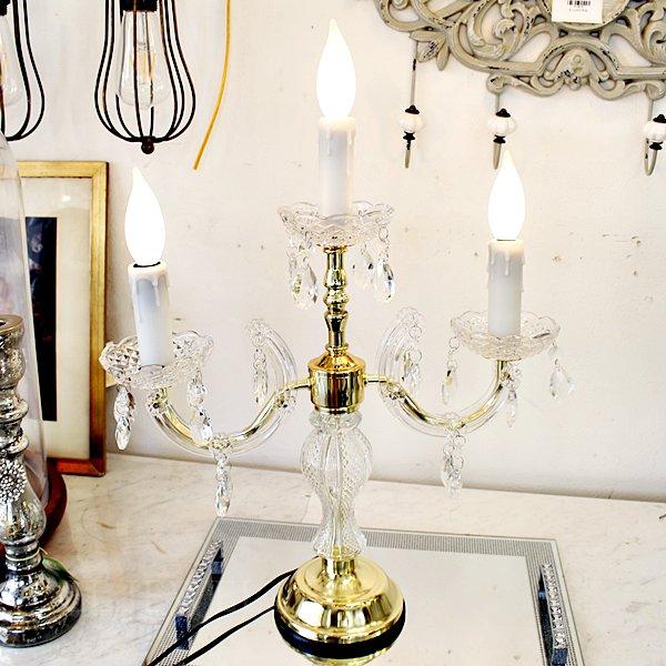 【即納可!】シャンデリアキャンドルタッチランプ3灯(H55cm)