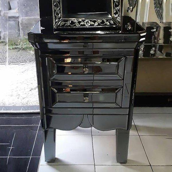 【即納可!】ブラックミラー家具・チェスト(W50×D50×H70cm)