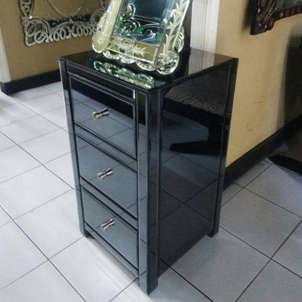 ブラックミラー家具・チェスト(W40×D440×H75cm)