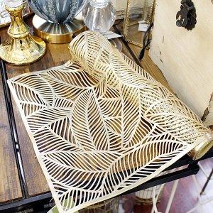 【即納可!】【フランス-Aulica-】ゴールドリーフ テーブルランナー(35X180cm)