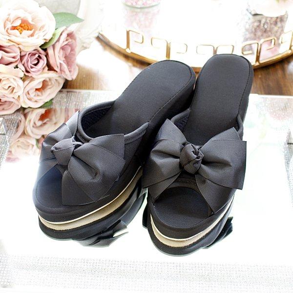 【即納可!】可愛い♪プリンセスルームシューズ・リボン・ブラック(23.5cm・ヒール高8cm)
