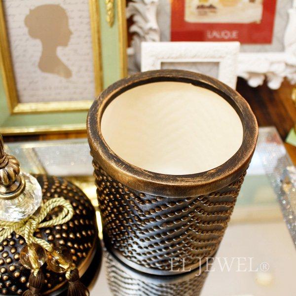 【即納可!】【A&B Home】タッセル付き陶器ポット・ブロンズ・S(12×H28cm)