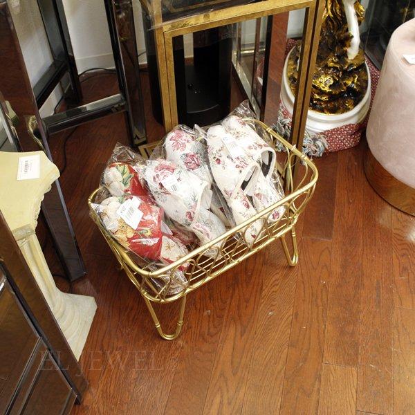 【即納可!】脚付きタオルバスケット ゴールド(W43.5×D25.5×H29cm)