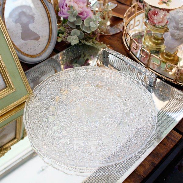 【即納可!】エレガントなおもてなしに♪トルコ製アラベスクガラスプレートM(φ23cm)