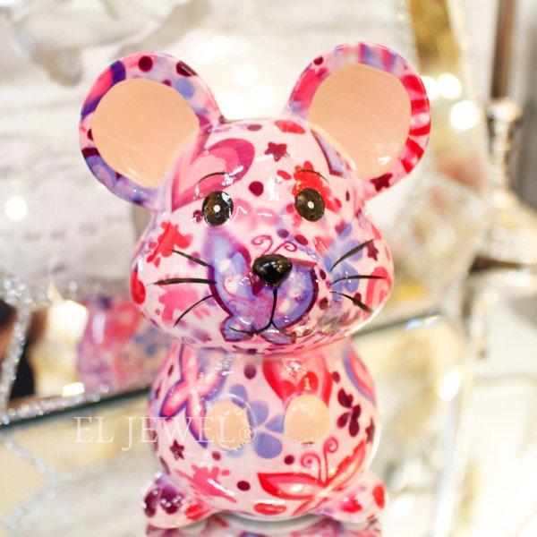 【即納可!】【Pommepidou】ベルギー・マネーバンク「MARTHA」マウス・ピンク・S(W8.3×D6.6×H12cm)