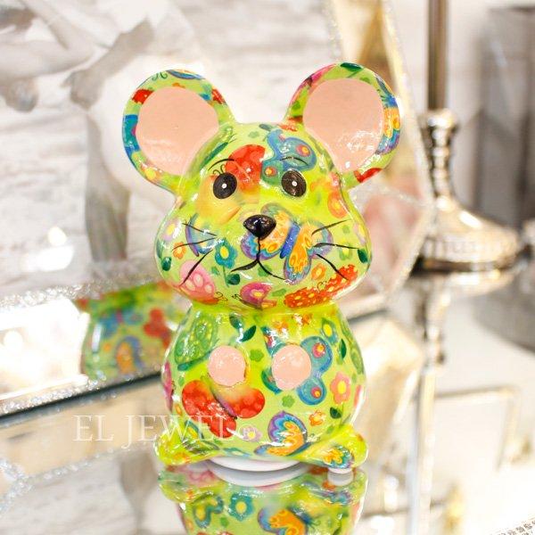 【即納可!】【Pommepidou】ベルギー・マネーバンク「MARTHA」マウス・グリーン・S(W8.3×D6.6×H12cm)