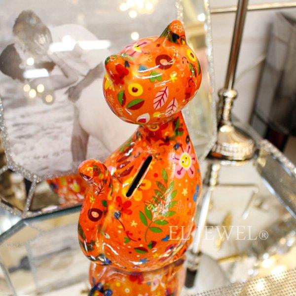 【即納可!】【Pommepidou】ベルギー・マネーバンク「CARAMEL」キャット・オレンジ(W12.5×D10.3×H21.5cm)