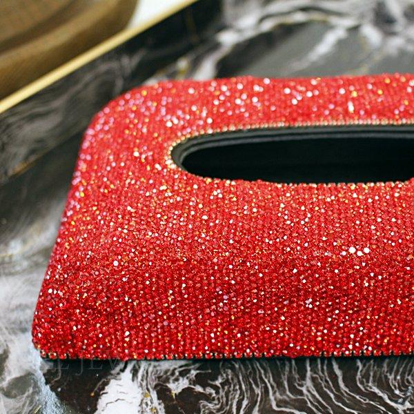 【即納可!】キラキラ♪ティッシュBOXケース・レッド(W23.5×D13.5×H5.5cm)