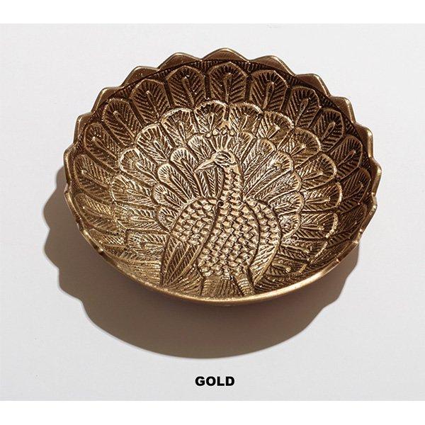 【即納可!】ブラスピーコックプレート・ゴールド(φ11cm)