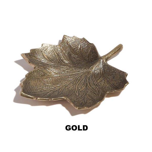 【即納可!】ブラスメープルリーフプレート・ゴールド(13.5cm)