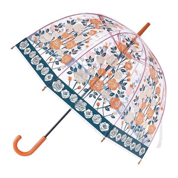 ハッピークリアドームアンブレラ「ガーリーローズ」ビニール傘(φ840×H86cm)