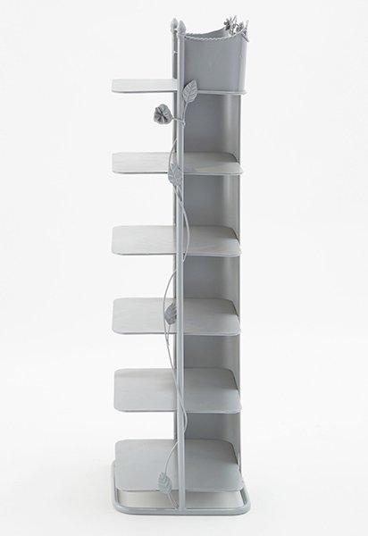 スリッパラック・シューズラック・6段ラック<アイアンインテリアグレー>(W37×D27×H100cm)