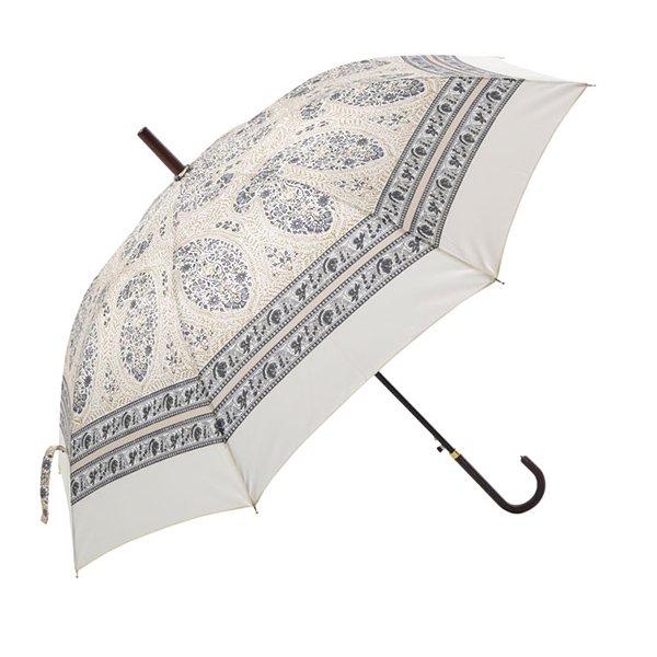 インド更紗パターン傘・雨晴兼用・ホワイト(φ100cm)