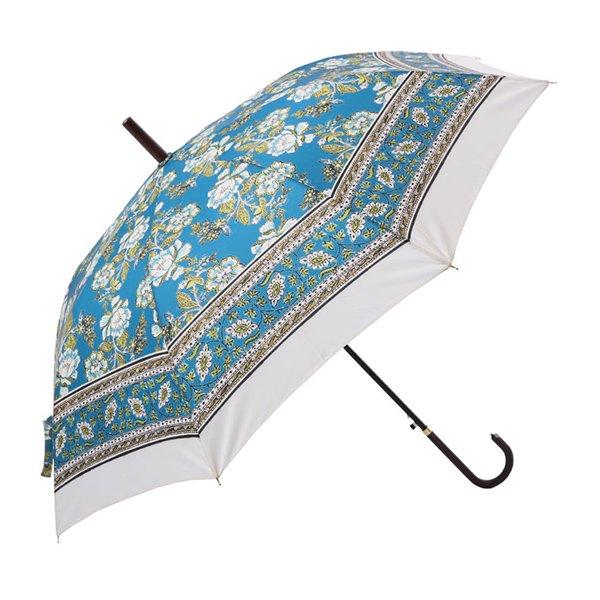 インド更紗パターン傘・雨晴兼用・ブルー(φ100cm)