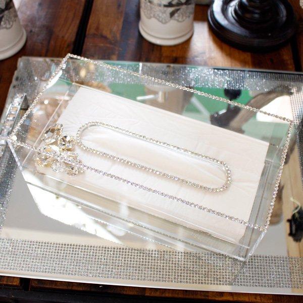 【即納可!】キラキラスワロフスキーデコレーション♪ティッシュボックス クリスタルビジュー(W25.5×D13×H8cm)