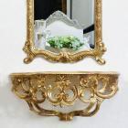 【即納可!】イタリア製ロココ調♪壁掛けコンソール アンティーク・ゴールド (W40×H17cm)