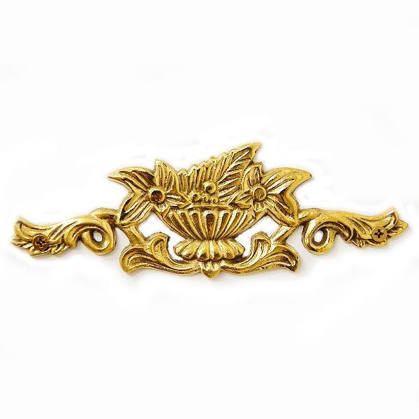 【即納可!】ロココ ・スタイル♪アンティーク調 家具装飾プレート ゴールド(W13.5×H5cm)