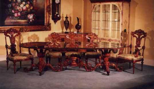 イタリア高級ロココ調家具【バラビ】-ダイニング9点セット