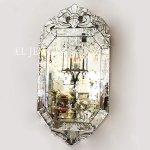 <B>【ベネチアンミラー】</B>壁掛けミラー「ダイヤモンド」:H80×W40cm