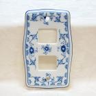 <b>【即納可!】</b>陶器製スイッチカバー(ブルー) 2穴用