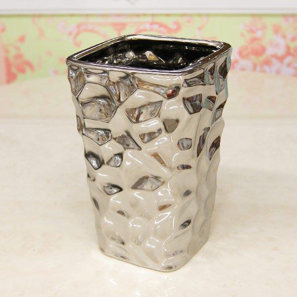 【即納可!】【フラワーベース】モダン・シルバーカップ(花器) Mサイズ (W14×H23cm)