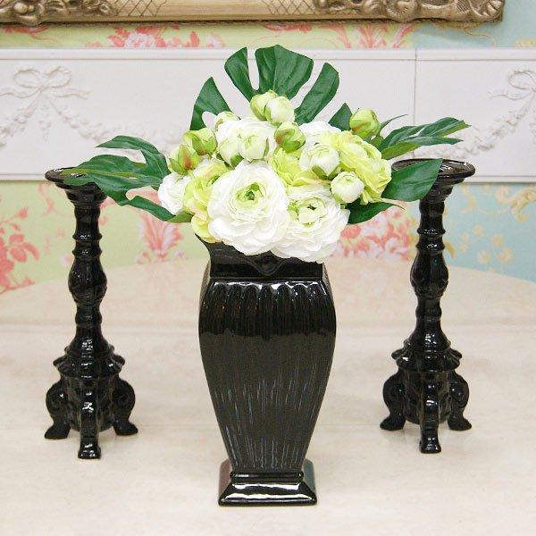 【即納可!】【フラワーベース】ロココ調 フラワーベース・花器♪ (ブラック)