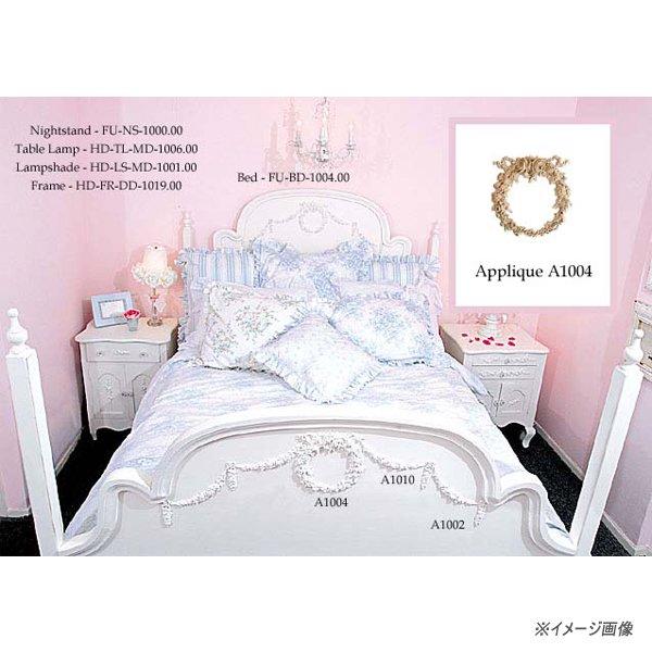 【BELLA】ローズリボンアップリケ (アンティーク・ホワイト) 17.7×18.4cm