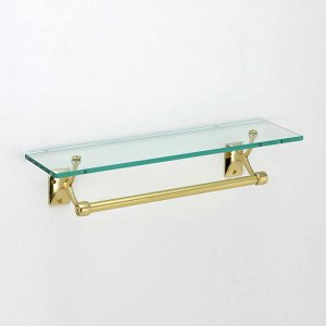 【2021年01月上旬〜予約商品】タオルバー付きガラスシェルフ (ゴールド・真鍮製):W456mm**